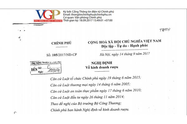 Nội dung đổi mới trong Nghị định mới nhất về Kinh doanh, Sản xuất Rượu | NĐ số 105/2017/NĐ-CP